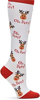Nurse Mates EKG Heart and Holiday Compression Trouser Socks (One Size, Oh Deer)