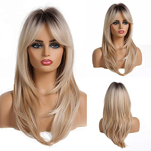 Parrucca sintetica con capelli naturali alla moda, bionda femminile, di media lunghezza, con frangia dorata chiara, in fibra resistente al calore, parrucche per donne bianche
