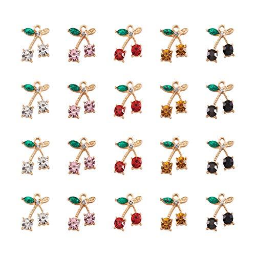 Beadthoven 20 pezzi Ciondolo Ciliegia con Strass, 5 Colori Ciondoli Ciliegio in Cristallo Dolce Carino Frutta Ciondola Ciondoli per Orecchini Creazione di Gioielli