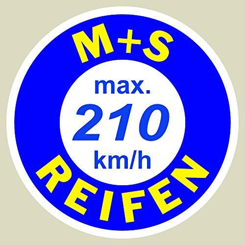 2 x Geschwindigkeitsaufkleber SpeedMax Vmax Aufkleber max. 210 km/h Rund 3cm für Winterreifen , M&S Reifen