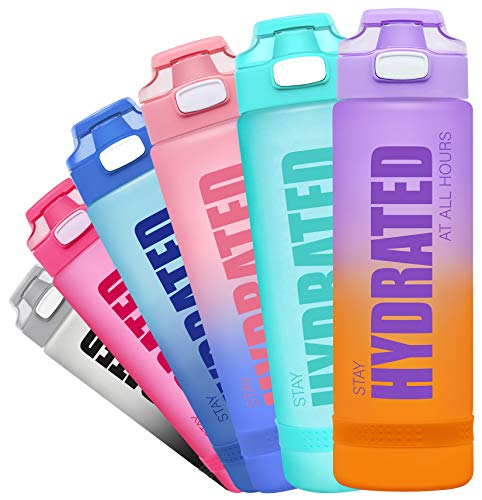 Fidus 32oz Motivational Water Bottle with Time Marker & Chug Lid, Leakproof BPA Free Tritan Wide Mouth, Ensure You Drink Enough Water Daily for Fitness and Outdoor Activity-32oz-Purple/Coral Gradient