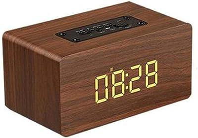Funihut - Reloj Despertador inalámbrico de Madera con Bluetooth, multifunción, con Altavoz, Sonido