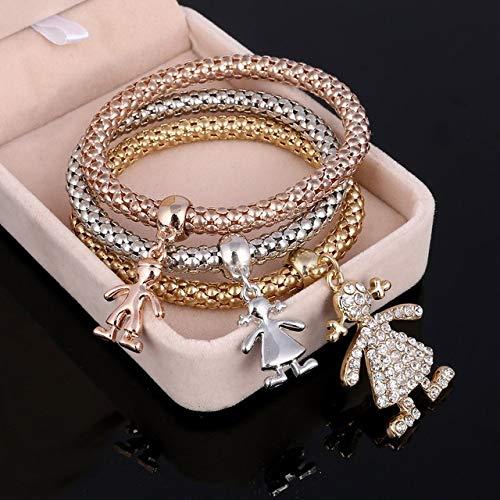 ZYJ 3 Stks Bloem Armband Crystal Uil Hart Muziek Note Jongen Meisje Crystal Charm Armbanden Voor Vrouwen Sieraden |charme armband|