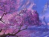 Pittura per adulti FAI da te per Kit di numeri Modello per Ragazzi Facilità di pittura Set di dipinti su Tela Alberi Stile Viola Pittura per pennelli per numeri 40X50 cm Senza Cornice