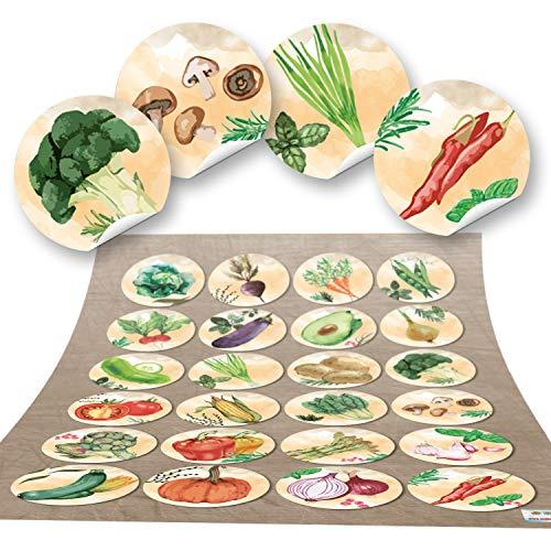 48 ronde stickers groente keukenstickers eten gezond keuken deco sticker glas sticker keuken-etiketten zelfklevend kinderen knutselen