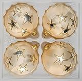 4 tlg. Glas-Weihnachtskugeln Set 8cm Ø in 'Ice Champagner Gold' Goldener Stern - Christbaumkugeln - Weihnachtsschmuck-Christbaumschmuck 8cm Durchmesser