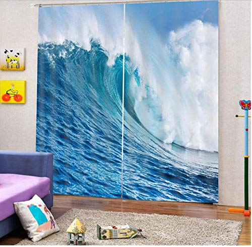 Custom 3d Curtain Blue Wave Curtains Fabric For Bedroom Blackout Curtain 2 Panels-W117X183cm (46 * 72 inch)