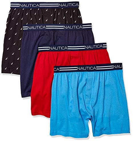 Nautica Men's Classic Cotton Loose Knit Boxer, Peacoat/aero Blue Red/Sails Black-4 Pack, M