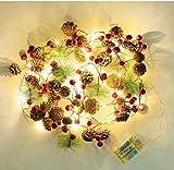 Iluminación de Navidad LED Luces de Alambre de Cobre Fruta Roja Pino Conos Pinos Agujas de Navidad Ratán Artesanía Holiday Jardín Decoración Luces Decoración de la casa