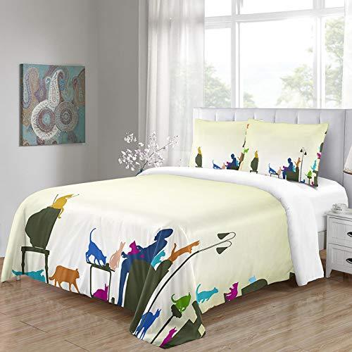 HKDGHTHJ® Funda nórdica Lindo Gatito Animal 220 x 230 CM Juego de Ropa de Cama Funda de edredón Sábana Fundas de Almohada Juego de Ropa de Cama Ropa de Cama Textiles para el hogar