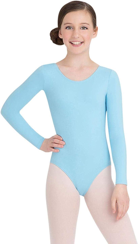 Girls Long-Sleeve Ballet Dance Leotards Kids Team Basic Gymnastics Outfit Dancewear Clothes