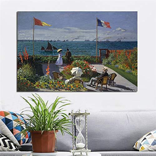 SADHAF Monet Garden Landscape Poster Print en Printer Canvas Painting Moderne muurfoto voor kamerdecoratie 30x40cm (kein Rahmen) A1.