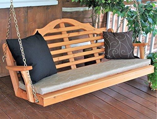 Aspen Tree 5' Porch Swing Lutyens Cedar Outdoor Hanging Swings for Patio Pergola Custom Amish Swinging Bench, Weather Happy Western Red Cedar Wood, Cedar Stain, 6 Styles