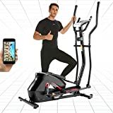 ANCHEER APP Elliptical Machine, Compact Elliptical Trainer with 10-Levels Magnetic Resistance, 390lbs Weight Capacity & Pulse Sensor, Large Multi-Function LCD Display for Home Use(Black)