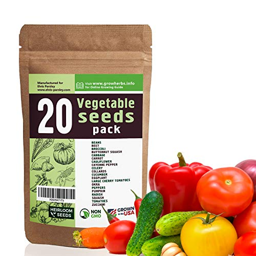 20 Vegetable Seeds Variety - USA Grown for Indoor or Outdoor Garden - Heirloom and Non GMO - Tomatoes, Zucchini, Peppers, Eggplant, Carrot, Cauliflower, Pumpkin, Celery, Radish and More