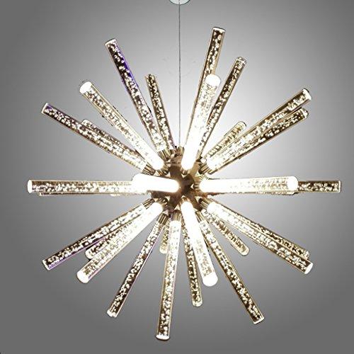 William 337 Lustre moderne de restaurant de LED, lustre en verre créatif/lustre en verre simple de cristal de colonne de bulle (Couleur : 65cm-Lumière blanche)