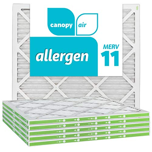 Canopy Air 20x20x1, Allergen AC Furnace Air Filter, MERV 11, Made in The USA, 6-Pack (Actual Size 19 1/2' x 19 1/2' x 3/4')