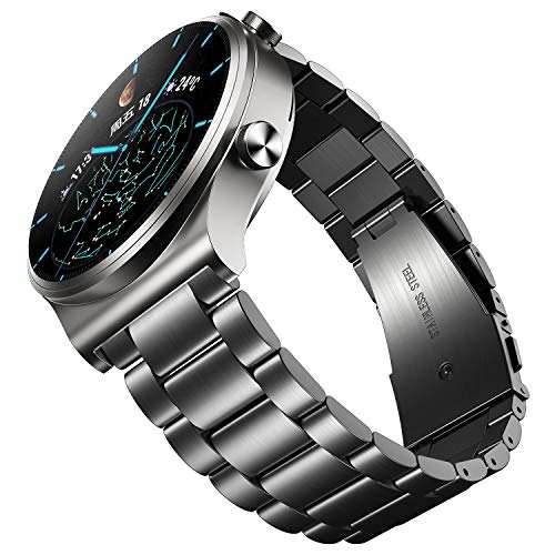 UANBOO Cinturino Compatibile con Huawei Watch GT2 PRO Cinturino di Ricambio in Metallo in Acciaio Inossidabile per GT2 46mm/GT2e (Nero)