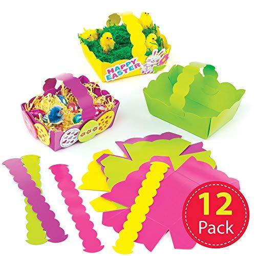 Baker Ross Cestini di Pasqua Colorati (Confezione da 12) per Bambini da Creare e Personalizzare