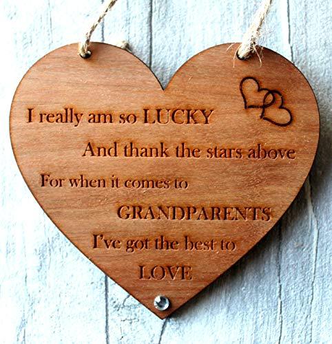 Grandparents Gifts From Grandchildren Announcement Cherry Woodenn Heart...