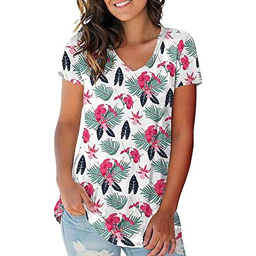 Camiseta de Mujer Suelta con Cuello en V y Manga Corta Estampada a la Moda