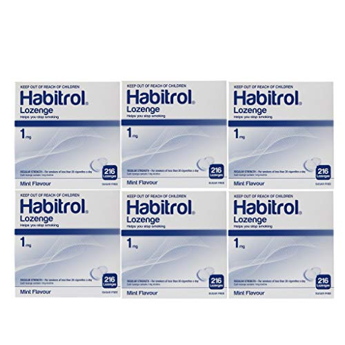 Habitrol Nicotine Lozenge 1mg Mint Flavor. 6 Packs of 216 Lozenges (Total 1296)