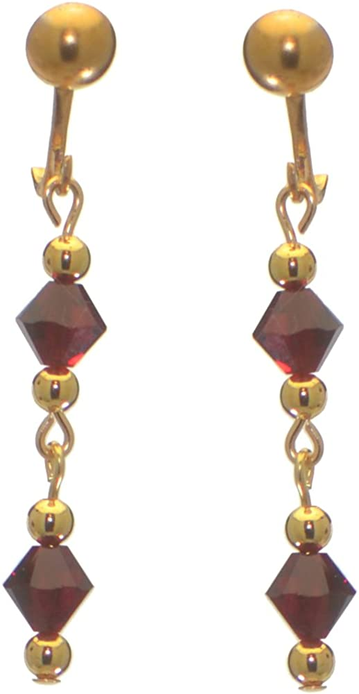 ADONA gold plated swarovski elements siam red crystal drop clip on earrings