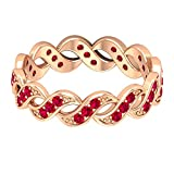Rosec Jewels 14 quilates oro rosa redonda Red Ruby