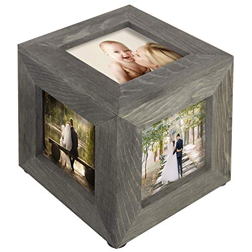 MyGift 5 Inch Vintage Gray Wood Decorative Picture Frame Keepsake Box