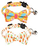 Cat Collar for Easter -2 Pack Kitten Collar Adjustable-Pet Collars for Boy Cats-Breakaway Cat Collar with Bow Tie and Bell-Ideal Gift for Kitty Puppy (Easter-Egg+Carrot)