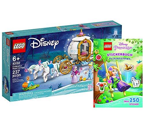 Collectix Lego Cenicienta 43192 - Juego de construcción de carruaje real de Cenicienta y libro de pegatinas (tapa blanda), diseño de Disney Princess