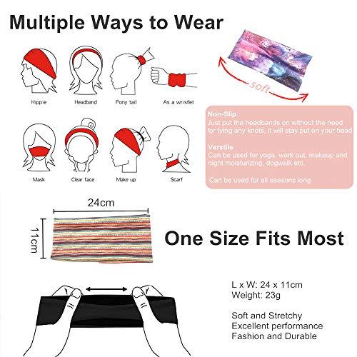 Tabiger 3-Pack Headbands Boho Wide Women Hairbands Sport Headbands Elastic Workout Sweatbands Bohemia Printed Headwraps Stretchy Exercise Fitness Yoga Headbands Stylish Hair Accessories