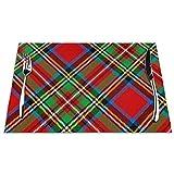 DearLord Manteles individuales de mesa, resistentes al calor, lavables a cuadros, 4 manteles individuales de vinilo tejido, diseño de tartán