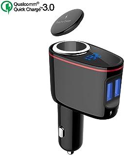 Timloon シガーソケット USB カーチャージャー 増設 Quick Charge 3.0 急速充電車載充電器 2USBポート 100W 電源ソケット 電圧/電流測定 GPS/Dashcam/iPhone/iPad/Samsung Galaxy,Note対応 12/24V車対応