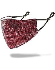 La Rosa Sparkly Washable Reusable Anti-Dust Sequins Face Mask for Party