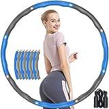 TvaaFog [Upgraded Fitness Hula Hoop Pneumatico Adulti per la riduzione del peso e il massaggio addominale 6-8 sezioni, tubo in plastica ABS rimovibile con schiuma premium con corda regalo (blu)