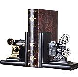 E-isata - sujetalibros para estantes, diseño de proyector de cine antiguo, vintage, hipster, pesado, también para cd y dvd, oficina, regalos, decoración