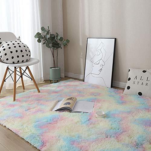 YUANYISHI Alfombra de pelo largo de seda y lana con técnica Tie-Dye de teñido anudado, gradiente de color, para dormitorio, salón, cama, lavable, alfombra grande, colores del arco iris 200 x 300 cm