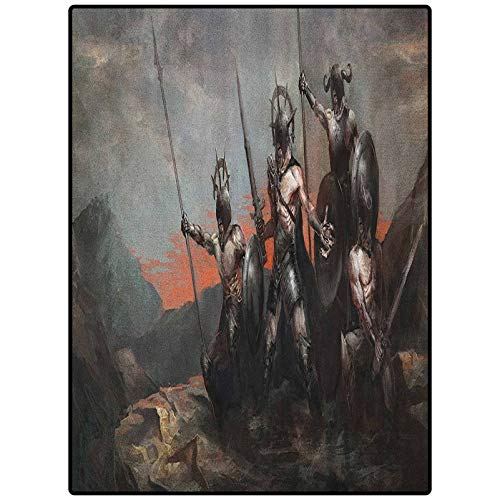Fantasy World Decor Carpets for Girls Room and Nursery - Home Decor Fantasy Fiction Themed Illustration in an Alien World with Three Figures Grey Orange 90' x 61'