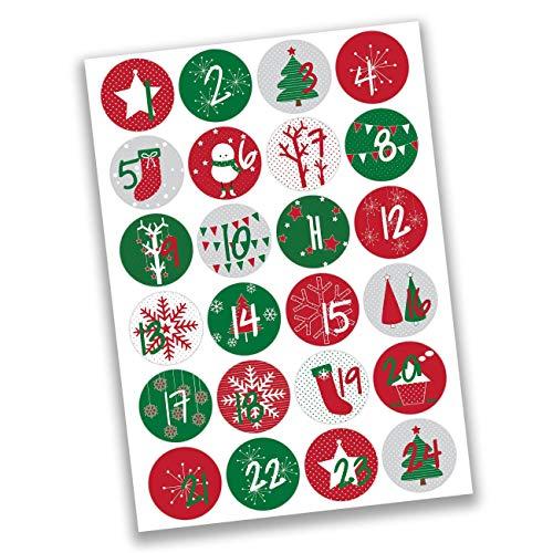 Papierdrachen 24 Adesivi con Numeri per Il Calendario dell'Avvento Rosso e Verde Classico n. 15 - Adesivi - per Creare e Decorare