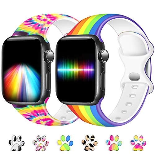 TopPerfekt Compatibili con Apple Watch Cinturino 38mm 40mm 42mm 44mm, Cinturino Sportivo Sostitutivo con Motivo Compatibile con iWatch SE/Series 6 5 4 3 2 1 (38/40mm-S/M, Arcobaleno + Tie Dye)