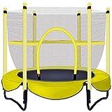 Shining Mini Trampoline, Outdoor Enfants Trampoline avec Filet De Protection, Piscine Intérieure Petit Trampoline Peut Résister À 100 Kg,Jaune