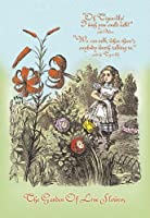 キャンバス上のライブ花28x42クレーの庭:鏡の国のアリス