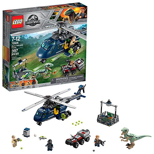 LEGO Jurassic World Blues Helicopter Pursuit 75928 Building Kit (397 Pieces)