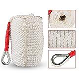 Cuerda de acoplamiento para barco, 19 mm x 61 m, de nailon trenzado sólido de tres hebras, cuerda...