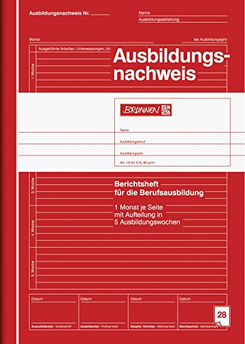 Brunnen 1042574 Berichtsheft Ausbildung / Ausbildungsnachweisheft (A4, 28 Blatt, 1 Monat je Seite)