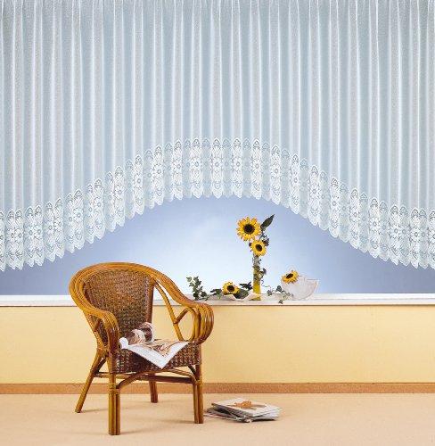 Vorhang, Fertiggardine, Gardine reinweiß in C-Bogen Form, hochwertiger Sockel-Jacquardstore mit transparentem Oberstoff und Universalschienenband, H x B 160 x 450cm Typ151. von fashion-and-joy