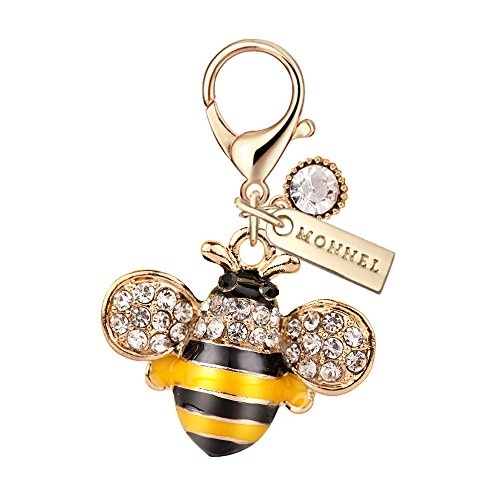 MC30 New Arrival Cute Crystal Yellow Bee Lobster Clasp Charms Pendants with Pouch Bag (1 Piece)