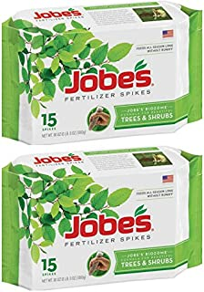 Jobe`s Tree Fertilizer Spikes, 16-4-4 Time Release Fertilizer for All Shrubs & Trees, 15 Spikes per Package - 2