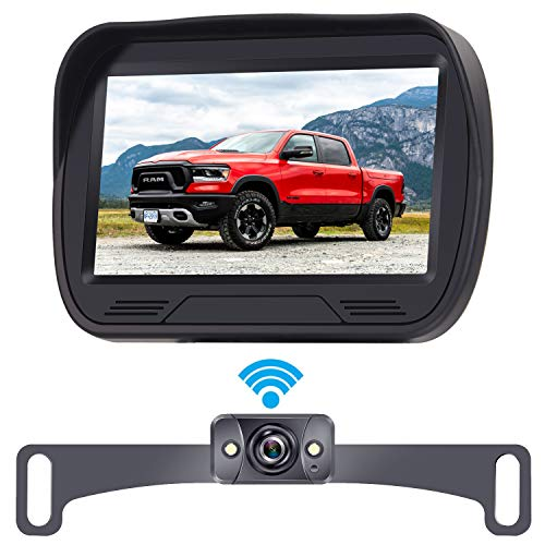 LeeKooLuu F03 Digital Wireless Backup Camera HD 720P System 4.3 Inch LCD Monitor High-Speed Observation System Hitch Rear View Camera Front View Camera with Super Night Vision for Trucks,Cars,Campers backup Cameras Vehicle